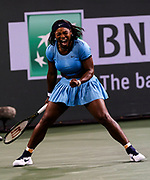 Serena Williams of United States reacts against Agnieszka Radwanska of Poland during the women singles semifinal match of the BNP Paribas Open tennis tournament on Friday, March 18, 2016 in Indian Wells, California.  Williams won 6-4, 7-6.