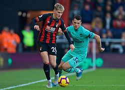 BOURNEMOUTH, ENGLAND - Sunday, November 25, 2018: AFC Bournemouth's David Brooks (L) and Arsenal's Granit Xhaka during the FA Premier League match between AFC Bournemouth and Arsenal FC at the Vitality Stadium. (Pic by David Rawcliffe/Propaganda)