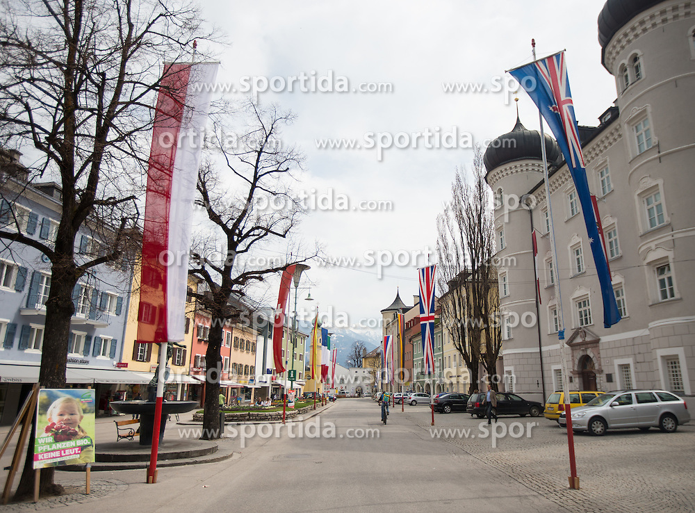 16.04.2013, Hauptplatz, Lienz, AUT, Giro del Trentino, Etappe 1, Lienz nach Lienz, im Bild Feature, Hauptlatz  und Lieburg mit Fahnenspalier // during stage 1, Lienz to Lienz of the Giro del Trentino at the Hauptplatz, Lienz, Austria on 2013/04/16. EXPA Pictures © 2013, PhotoCredit: EXPA/ Johann Groder
