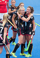 LONDON -  Unibet Eurohockey Championships 2015 in  London.  Poland v Belgium .  Louise Versavel (m) has scored for Belgium and celebrates with Anouk Raes.     WSP Copyright  KOEN SUYK
