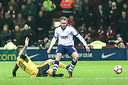 Aiden McGeady (Preston) and Arsenal defender Shkodran Mustafi (20)  battle during the The FA Cup 3rd round match between Preston North End and Arsenal at Deepdale, Preston, England on 7 January 2017. Photo by Pete Burns.