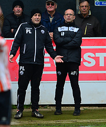 RUSHDEN ASSISTANT MANAGER PAUL LAMB AND MANAGER ANDY PEAKS, AFC Rushden & Diamonds v Ashford Town, The Stadium Hayden Road, Evostik South East League Runners Up Promoted Saturday 28th April 2018