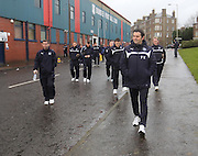 Paul Hartley leads the Dundee squad on the short walk to Tannadice from Dens -  Dundee United v Dundee, SPFL Premiership at Tannadice <br /> <br /> <br />  - &copy; David Young - www.davidyoungphoto.co.uk - email: davidyoungphoto@gmail.com