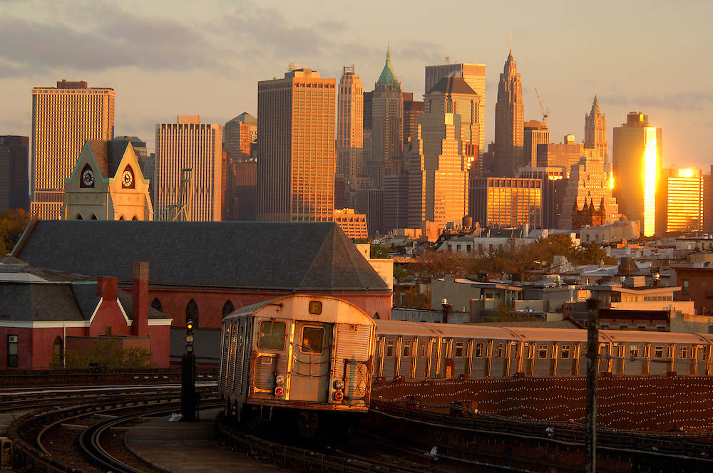 view to Downtown Manhattan, Subway Station Brooklyn, New York, New York, United States of America