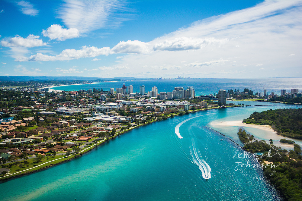 Aerial of the Tweed River & the towns of Tweed Heads, NSW & Coolangatta, Queensland, Australia