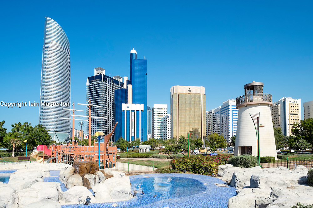 Skyline of modern high-rise buildings along Corniche in Abu Dhabi United Arab emirates