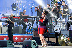 Ben Taylor, Jill Scott (pictured here), Grace Potter, Hunter Hayes, John Mayer, J.Cole and Ne-yo take the stage for the Philly 4th of July concert with Questlove and the Roots. (Bas Slabbers/for NewsWorks)
