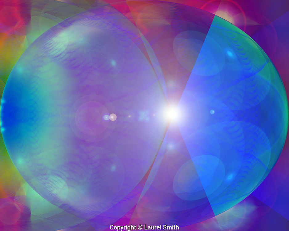 "Symphony of Light #99 ~ Wandering Into Other Worlds ~ © Laurel Smith ~Exploring the cosmos, allowing for an intuitive understanding of the infinite space of the universe and the wholeness within the subtle quantum experience of creation. ~These images were created while listening to, ""The Colored Circle of Light Symphony""  by New Equations Music.  Visit their website:  www.newequationsmusic.com"
