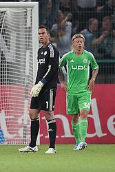 19.08.2011,  BorussiaPark, Mönchengladbach, GER, 1.FBL, Borussia Mönchengladbach vs Vfl Wolfsburg, im Bild.Diego Benaglio (Torwart Wolfsburg) (L) und Simon Kjaer (Wolfsburg #34) (R) entaeuscht / entäuscht / traurig ..// during the 1.FBL, Borussia Mönchengladbach vs Vfl Wolfsburg on 2011/08/19, BorussiaPark, Mönchengladbach, Germany. EXPA Pictures © 2011, PhotoCredit: EXPA/ nph/  Mueller *** Local Caption ***            ****** out of GER / CRO  / BEL ******
