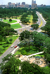 Stock photo of an aerial view of the Texas Medical Center near Hermann Park and the Museum of Natural Science.