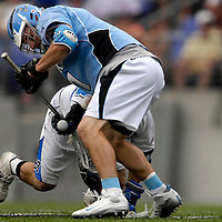 28 May 2007:  Johns Hopkins defenseman Jamison Koesterer (1) wins a face off in the third quarter against Duke University mid fielder Dan Oppedisano (28) in the NCAA Division I Lacrosse Championship game.  The Johns Hopkins Blue Jays defeated the Duke Blue Devils 12-11 to win the NCAA Division I Lacrosse championship at M&T Bank Stadium in Baltimore, Md. .