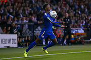 Leicester City midfielder Demarai Gray (7) brings the ball down on his chest during the EFL Cup match between Sheffield Utd and Leicester City at Bramall Lane, Sheffield, England on 22 August 2017. Photo by Simon Davies.