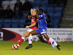 Bristol City's Adam El-Abd challenges for the ball with Gillingham's Jermaine McGlashan - Photo mandatory by-line: Dougie Allward/JMP - Mobile: 07966 386802 - 08/11/2014 - SPORT - Football - Gillingham - Priestfield Stadium - Gillingham v Bristol City - FA Cup - Round One