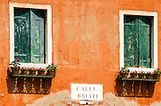 Windows and street sign, Murano, Veneto, Italy