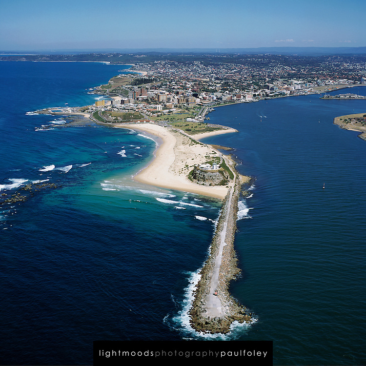 Aerial View of Nobbys and Newcastle, NSW, Australia