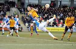 Matt Taylor of Bristol Rovers attempt an overhead kick. - Mandatory byline: Alex James/JMP - 19/03/2016 - FOOTBALL - Rodney Parade - Newport, England - Newport County v Bristol Rovers - Sky Bet League Two