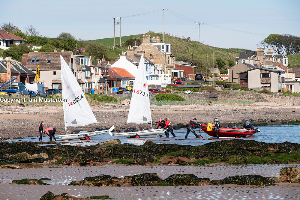 Sailing boats on the beach at Lower Largo village in Fife, Scotland, United Kingdom