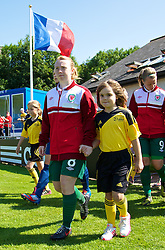 HAVERFORDWEST, WALES - Sunday, August 25, 2013: Wales' Rachel Hignett walks out before the Group A match against France of the UEFA Women's Under-19 Championship Wales 2013 tournament at the Bridge Meadow Stadium. (Pic by David Rawcliffe/Propaganda)