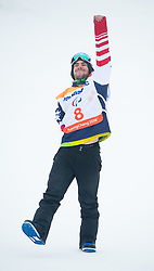March 16, 2018 - Pyeongchang, South Korea - MIKE MINOR of the US celebrates his gold medal win in the Snowboard Banked Slalom event at Jeongseon Alpine Center at the Pyeongchang Winter Paralympic Games. (Credit Image: © Mark Reis via ZUMA Wire)