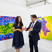 "11.06.2017         <br /> International award winning artists are among the almost 200 graduates of Limerick School of Art and Design who's work went on exhibition at the LSAD Graduate Show 2017.<br /> <br /> Pictured is 4th year graduating Painting  student, Vicky Enright discussing her work titled 'Industrial Spectrum' with John Concannon, Director of Creative Ireland who officially opened the show.<br />  <br /> Students from the college took control of the over-riding message of this historical show as they conceptualised, designed and delivered on the theme - be.cause.<br />  <br /> The hypothesis conceived by Graphic Design graduates Cassandra Walsh and David Reilly, is derived from the fact the graduates have now reached a stage where they are confident with their work, their interpretations and creative solutions. As creative minds they have an innate need to ""do"" something. There is just this need to create, be.cause.<br /> . Picture: Alan Place."