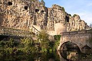 LUX, Luxembourg, city of Luxembourg, the Bock casemates and the bridge Stierchen across the river Alzette at the district Grund.<br /> <br /> LUX, Luxemburg, Stadt Luxemburg, die Bock-Kasematten und die Stierchen Bruecke ueber die Alzette im Stadtteil Grund.