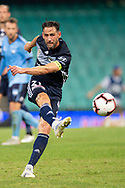 SYDNEY, AUSTRALIA - APRIL 06: Melbourne Victory midfielder Carl Valeri (21) has a shot at goal at round 24 of the Hyundai A-League Soccer between Sydney FC and Melbourne Victory on April 06, 2019, at The Sydney Cricket Ground in Sydney, Australia. (Photo by Speed Media/Icon Sportswire)