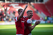 Shaun MacDonald of Rotherham United and Jamie Lindsay of Rotherham United during the EFL Sky Bet League 1 match between Rotherham United and Bolton Wanderers at the AESSEAL New York Stadium, Rotherham, England on 14 September 2019.