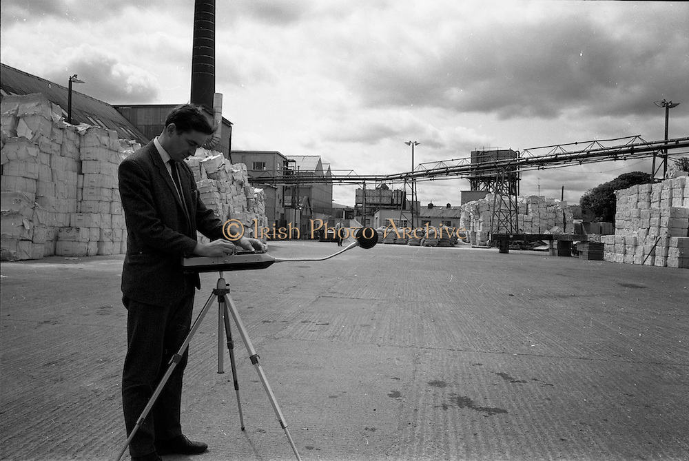 09/06/1967<br /> 06/09/1967<br /> 09 June 1967<br /> View of equipment at the Clondalkin Paper Mills, Dublin. Man appears to operate sound recording equipment.