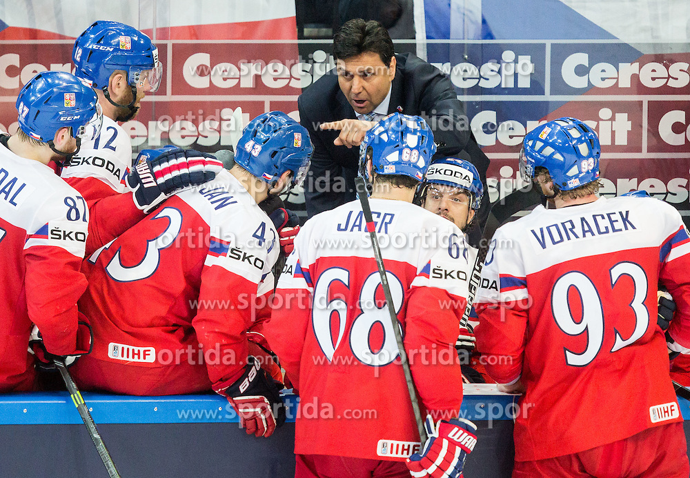 Vladimir Ruzicka of Czech Republic with players during Ice Hockey match between Finland and Czech Republic at Quarterfinals of 2015 IIHF World Championship, on May 14, 2015 in O2 Arena, Prague, Czech Republic. Photo by Vid Ponikvar / Sportida
