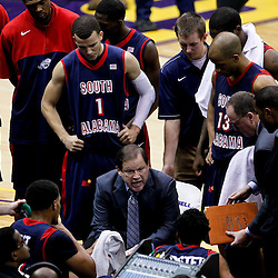 November 23, 2011; Baton Rouge, LA; South Alabama Jaguars head coach Ronnie Arrow talks to his team by the bench during the second half of a game against the LSU Tigersat the Pete Maravich Assembly Center. South Alabama defeated LSU in overtime 79-75. Mandatory Credit: Derick E. Hingle-US PRESSWIRE