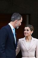 King Felipe VI of Spain, Queen Letizia of Spain attended an official lunch at Palacio de la Zarzuela on February 22, 2017 in Madrid, Spain.