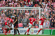 Ben Purrington (Charlton) off to celebrate his goal during the EFL Sky Bet League 1 play off final match between Charlton Athletic and Sunderland at Wembley Stadium, London, England on 26 May 2019.