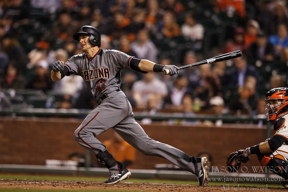SAN FRANCISCO, CA - APRIL 18: Nick Ahmed #13 of the Arizona Diamondbacks at bat against the San Francisco Giants during the sixth inning at AT&T Park on April 18, 2016 in San Francisco, California. The Arizona Diamondbacks defeated the San Francisco Giants 9-7 in 11 innings.  (Photo by Jason O. Watson/Getty Images) *** Local Caption *** Nick Ahmed