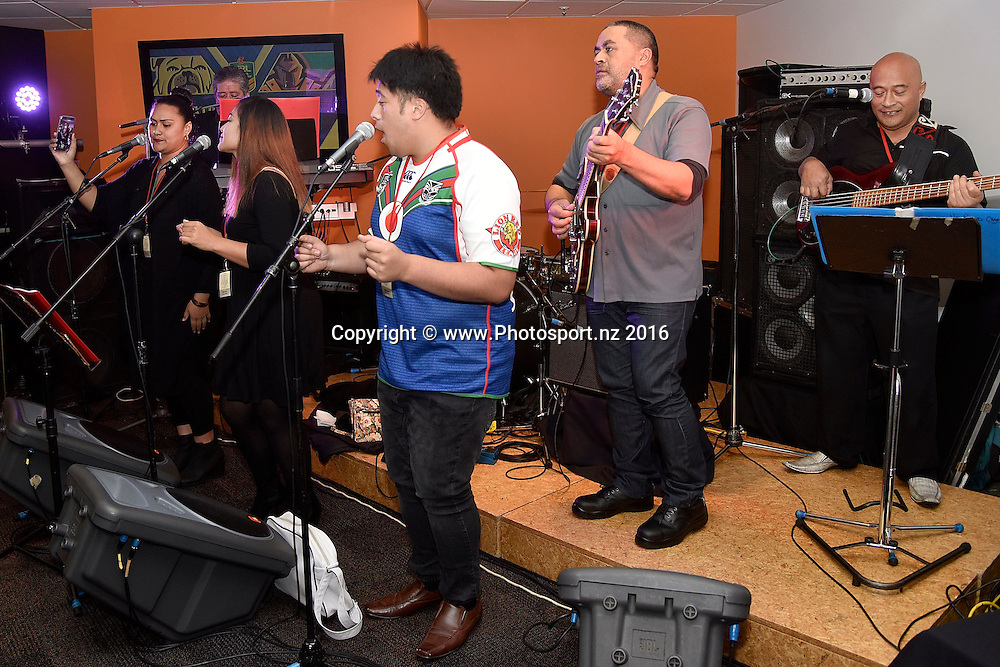 A band performs in the members lounge during the NRL Warriors vs Bulldogs Rugby League match at the Westpac Stadium in Wellington on Saturday the 16th of April 2016. Copyright Photo by Marty Melville / www.Photosport.nz