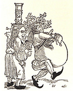 Contemporary cartoon lampooning Martin Luther (1483-1546) and his wife. German Protestant reformer.