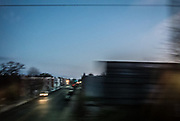 Inner city Baltimore, pre-dawn, aboard Amtrak.