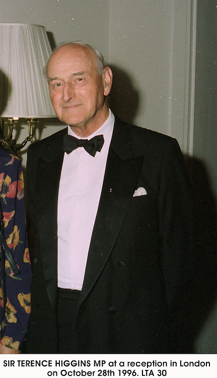 SIR TERENCE HIGGINS MP at a reception in London on October 28th 1996.LTA 30