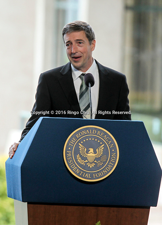 Ronald Prescott Reagan son of Nancy Reagan speaks during a funeral service for the former first lady Nancy Reagan at the Ronald Reagan Presidential Library and Museum in Simi Valley, California on March 11, 2016. Reagan died of congestive heart failure in her sleep at her Bel Air home Sunday at age 94. A bout 1,000 guests from the world of politics attended the final farewell to Nancy Reagan as the former first lady is eulogized and laid to rest next to her husband at his presidential library.<br />    (Photo by Ringo Chiu/PHOTOFORMULA.com)<br /> <br /> Usage Notes: This content is intended for editorial use only. For other uses, additional clearances may be required.