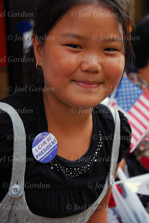 "Korean American Girl in crowd wearing button ""I Can be President"" watching the Korean Day Parade"