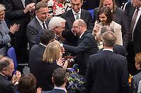 12 FEB 2017, BERLIN/GERMANY:<br /> Frank-Walter Steinmeier (M-L), neu gewählter Bundespraesident, und Martin Schulz (M-R), SPD, Kanzlerkandidat, Gratulationen nach Steinmeiers Wahl zum Bundespraesident, 16. Bundesversammlung zur Wahl des Bundespraesidenten, Reichstagsgebaeude, Deutscher Bundestag<br /> IMAGE: 20170212-02-135<br /> KEYWORDS; Bundespraesidentenwahl, Bundespräsidetenwahl, gratuliert
