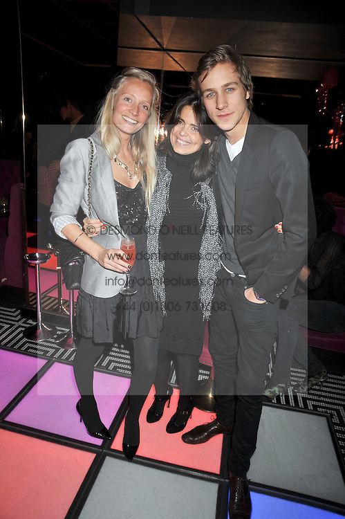 Left to right, MARTHA WARD, DANIELLA HELAYAL andTOBY KNOTT at a party following the Issa fashion show at the February 2009 Fashion Week held at Raffles, King's Road, London on 23rd February 2009.