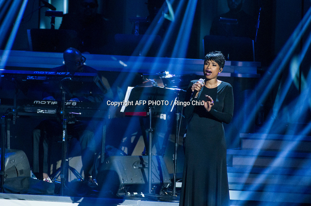 Jennifer Hudson performs at a concert, Stevie Wonder: Songs In The Key Of Life - An All-Star GRAMMY Salute, at Nokia Theatre L.A. Live on February 10, 2015 in Los Angeles, California. AFP PHOTO / Ringo Chiu