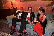 DANCREDI ALEMAGNE; FRANCESCO FERRI; LODOVICA FRALCONE, Francesca Bortolotto Possati, Alessandro and Olimpia host Carnevale 2009. Venetian Red Passion. Palazzo Mocenigo. Venice. February 14 2009.
