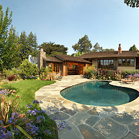 Panorama of a landscape design project with pool