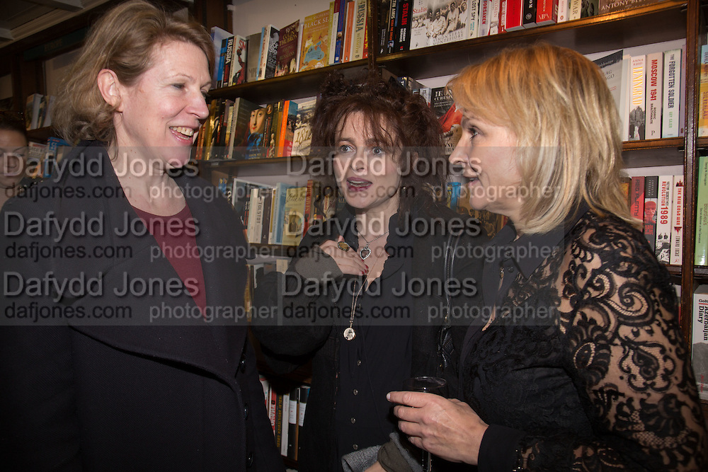 HILARY BISHOP; HELENA BONHAM-CARTER; HELEN FIELDING, Allie Esiri's The Love Book launch party , Daunt Books <br /> 83 Marylebone High Street, London. 5 February 2014
