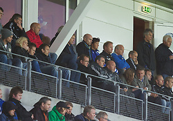 MOLDE, NORWAY - Wednesday, September 7, 2011: Liverpool's academy technical manager Jose Pep Segura and director of academy and player development Frank McParland in the stands, and Molde's manager and former Manchester United striker Ole Gunnar Solskjaer in the top right corner, during the second NextGen Series Group 2 match at Aker Stadion. (Photo by Vegard Grott/Propaganda)