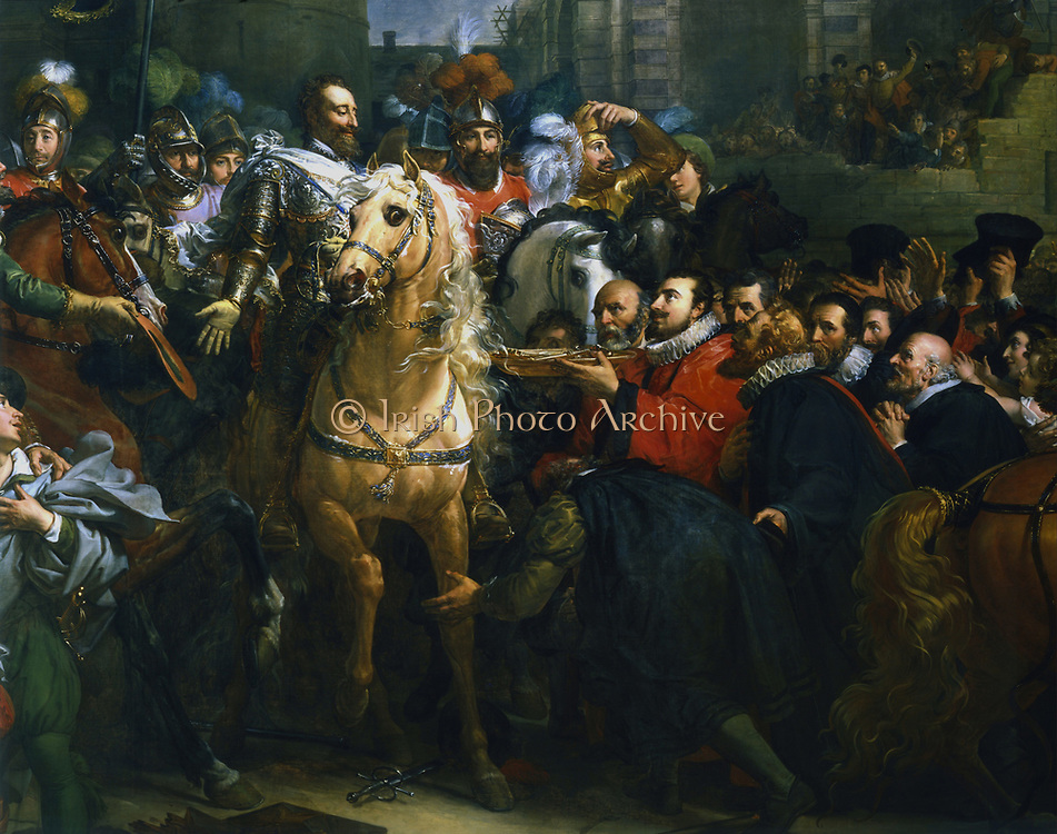 Henry  IV of France entering Paris, 22 March 1594. Detail. Galerie des Batailles,  Versailles, France