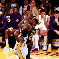 07 January 2018: Atlanta Hawks guard Isaiah Taylor (22) goes for the layup past Los Angeles Lakers forward Brandon Ingram (14) during the LA Lakers 132-113 victory over the Atlanta Hawks, at the Staples Center, Los Angeles, California, USA.