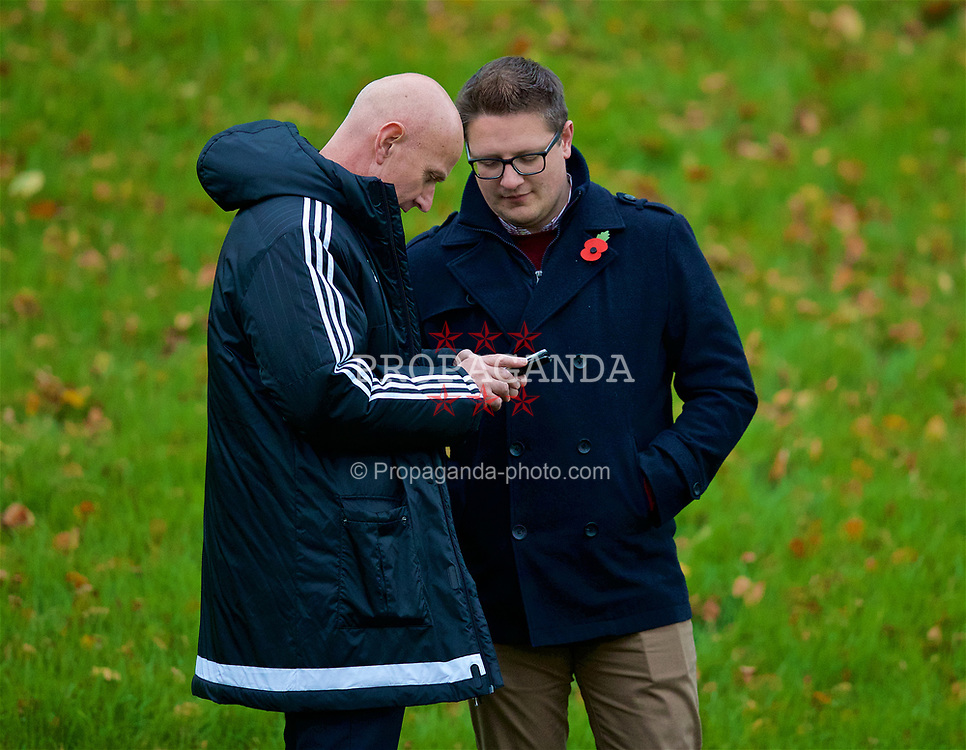 CARDIFF, WALES - Monday, November 6, 2017: Wales' head of pubic affairs Ian Gwyn Hughes and Rob Dowling during a training session at the Vale Resort ahead of the international friendly match against France. (Pic by David Rawcliffe/Propaganda)