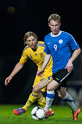 28.05.2012, Kufstein Arena, Kufstein, AUT, UEFA EURO 2012, Testspiel, Ukraine vs Estland, im Bild Anatoliy Tymoshchuk, (UKR, # 04), Tarmo Kink (EST, #09) // Anatoliy Tymoshchuk, (UKR, # 04), Tarmo Kink (EST, #09) during the Preparation Game for the UEFA Euro 2012 betweeen Ukraine and Estonia at the Kufstein Arena, Kufstein, Austria on 2012/05/28. EXPA Pictures © 2012, PhotoCredit: EXPA/ Juergen Feichter